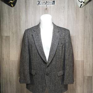 Vintage Sears Harris Tweed Grey Herringbone Blazer